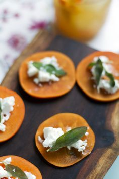 {Nosh} Persimmon, Fried Sage, and Goat Cheese Bites from www. Goat Cheese Recipes, Cheese Appetizers, Yummy Appetizers, Appetizer Recipes, Persimmon Recipes, Cheese Bites, Fruit Recipes, Fall Recipes, So Little Time