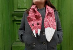 red and white FOX scarf hand knitted warm scarf by giantscanfly White Fox, Red And White, Fox Scarf, Hand Knitting, Warm, Crochet, Fashion, Crochet Hooks, Hand Weaving