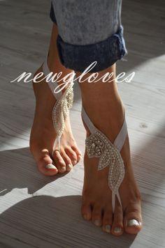 Rhinestone ivory pearl Beach wedding barefoot sandals by newgloves