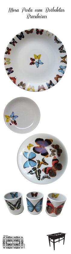 Pratos de porcelana decorados com borboletas brasileiras, desenhos autorais do Studio Cris Azevedo. Jogo com prato raso, prato de sopa, prato de pão, pratos de sobremesa e copos.