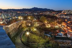 Nightscape with fortress wall -