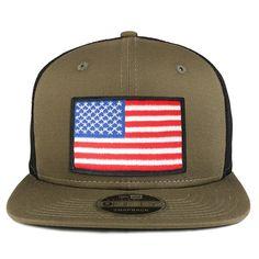 c7cfd2f84f862 Armycrew White Black Border American Flag Patch Snapback Trucker Cap