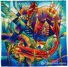 Tapestries Shop by Maximo Laura, one of Latin America's most prolific textile artists. All tapestries are available to purchase by request. Art Is Dead, Tapestry Loom, Devian Art, Mosaic Wall Art, Naive Art, Fish Art, Art Drawings Sketches, Fabric Art, Textile Art