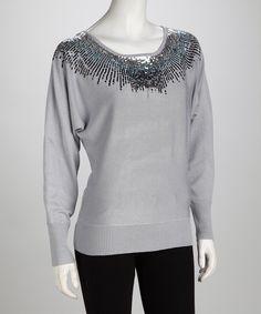 Sky Gray Sequin Dolman Sweater
