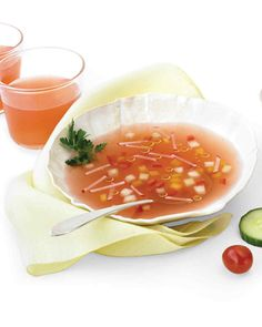 Inspired by gazpacho, this chilled broth is based on a vegetable puree and is a source of potassium and vitamins A and C.