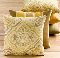 pillows for brown leather couch Yellow Pillows, Brown Pillows, Gold Pillows, Yellow Couch, Couch Pillows, Accent Pillows, Cushions, My Home Design, House Design