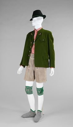 Man's outfit, Lanz of Salzburg, pieces variously made of wool, cotton, leather and bone, c. 1950, Austrian.