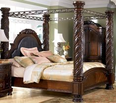 Traditional design North Shore Bedroom Furniture collection in Dark Brown Cherry. Ashley North Shore Canopy Bedroom Set with matching dresser, mirror, night stands and chest. Canopy Bedroom Sets, King Size Bedroom Sets, Master Bedroom Set, 5 Piece Bedroom Set, Bedroom Furniture Sets, Bedroom Suites, Dream Bedroom, King Furniture, Apartment Furniture