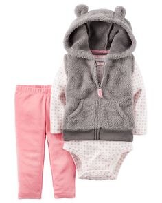 Carters Infant Girls Red Plaid Baby Outfit Shirt Fuzzy Vest /& Leggings Set