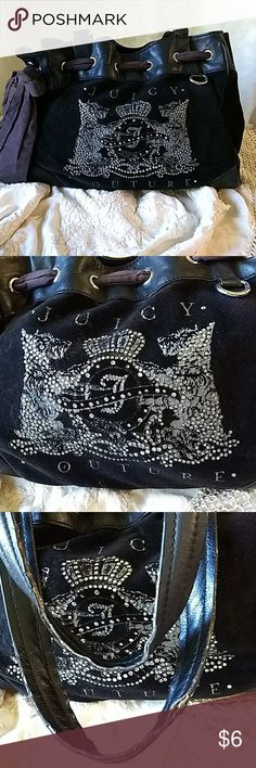 Juicy handbag Black velvet handbag with rhinestones and printing on the outside of the bag.  There is wear on the handles, and corners and several places on the inside.  Price reflects discount for defects. Juicy Couture Bags Hobos
