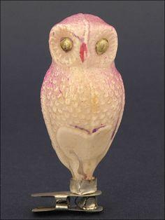 vintage Pink owl clip ornament