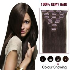 16 Inch 7pcs Straight Indian Clip In Remy Hair Extensions (#2 Dark Brown) 70g