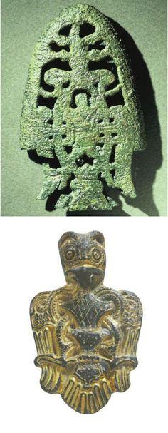 Top: Sword scabbard chape from Birka. Photo C.O.Löfman. Bottom: Pendant from Tissø. Photo National Museum,Copenhagen.