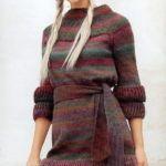 Платье из секционной пряжи  с воланами
