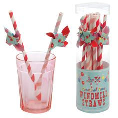 Set Of 12 Carnival Time Windmill Paper Straws | DotComGiftShop