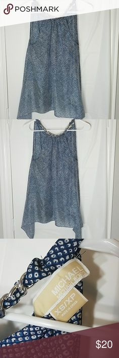 100% silk Michael Kors  halter tank XS Handkerchief style Blue tank with gray dots. halter style tie at back of neck. Chain decor at front of neck. MICHAEL Michael Kors Tops Blouses
