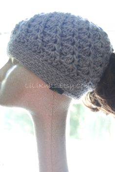 A personal favorite from my Etsy shop https://www.etsy.com/listing/172667444/womens-crochet-ponytail-hat-light-grey