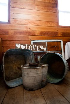 Galvi buckets and handmade sign. Good for filling up odd corners of the barn Our Wedding, Dream Wedding, Wedding Ideas, Rustic House Plans, Barn Wedding Decorations, Handmade Signs, Rustic Barn, Buckets, Signage
