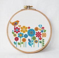 Floral cross stitch pattern Bird cross от AnimalsCrossStitch