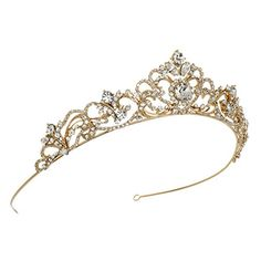 USABride Scrolling Rhinestone Bridal Crown, Gold-Tone Wedding Tiara, 3157-G -- Continue to the product at the image link.