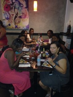 "A festive group of ladies enjoy Miami Cuisine at Bolivar; Peruvian Ceviche, Columbian Empanadas and the "" oh so refreshing"" cocktail, Refajo. SOBE FOOD TOUR - 10/24/15"