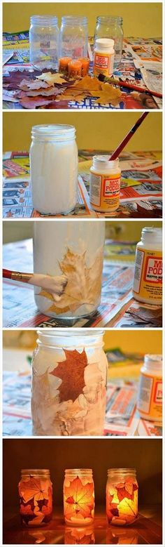DIY Fall Leaf Mason Jar Lamps.