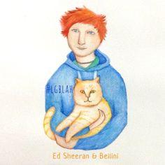 This guy #catperson #edsheeran #bellini #cat #pet #illustration #watercolor #art #sketch #design #lgblah #redhair #guy