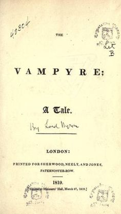 If you want to learn something: A Brief History of Vampire Fiction