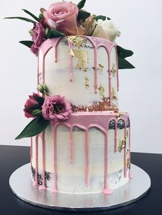 2 tier semi naked white buttercream cake with blush pink drip, gold foil & cake bloom #haranspatisserie