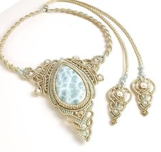 Custom macrame necklace with Larimar stone provided by buyer