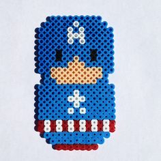 Perler Bead Chibi Bean Captain America Avengers Fridge Magnet or Wall Art  by theplayfulperler