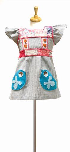Country Picnic Dress - Teal Mod Bird Pockets
