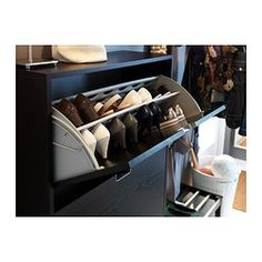 STÄLL Shoe cabinet with 3 compartment - black-brown - IKEA