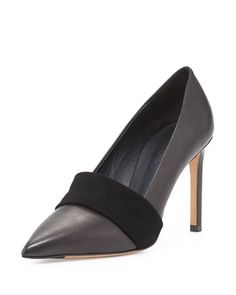 Carmel Leather Suede-Band Pump, Black by Vince at Neiman Marcus.