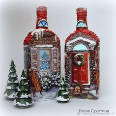 Новый год 2018 ручной работы. Ярмарка Мастеров - ручная работа. Купить Рождественский домик-светильник из бутылки Декупаж. Handmade. дом