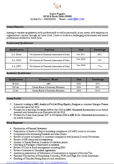 latest chartered accountant resume sample in word doc free - Sample Resume For Accountant