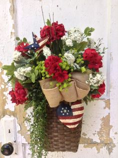 Patriotic Wreath for Door, 4th of July wreath Basket, Americana Decor, Summer Wreath, ATCTTEAM, by FlowerPowerOhio on Etsy