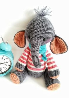 Items similar to Big amigurumi elephant in pink sweater - Stuffed plush animal doll - Gray crochet elephant in scarf - easter party favor on Etsy Funny Elephant, Crochet Elephant, Easter Party, Plush Animals, Pink Sweater, Crochet Projects, Dinosaur Stuffed Animal, Dolls, Knitting