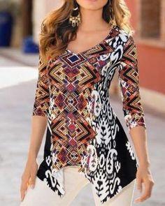 38d0b9853d Geometric asymmetrical t shirt for women three quarter sleeve tops  Asymmetrical Tops