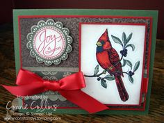 Joy at Christmas Cardinal by SouthernBellStamper - Cards and Paper Crafts at Splitcoaststampers