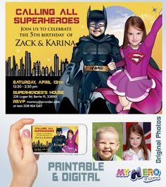 Batman and Super Girl Siblings Invitation. Joint Superheroes Party ideas. Pink Supergirl and Batman Party Ideas. Superheroes Siblings Birthday Ideas.  #BatmanSupergirlSiblingsInvitation  #JointSuperheroesPartyIdeas #JointJusticeLeaguePartyIdeas #SupergirlAndBatmanPartyIdeas #SupergirlAndBatmanBirthdayInvitation #PinkSuperGirlIdeas #myheroathome