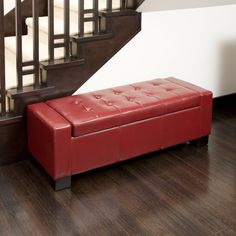 Christopher Knight Home Guernsey Red Bonded Leather Storage Ottoman | Overstock™ Shopping - Great Deals on Christopher Knight Home Ottomans