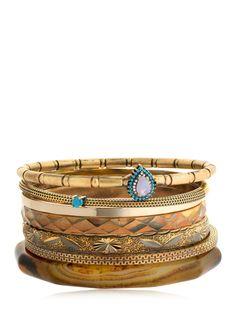 Iosselliani Set Of 7 Bangle Bracelets In Gold Bangle Bracelets, Bangles, Iosselliani, Rose Quartz, Plating, Brass, Turquoise, Stone, Gold