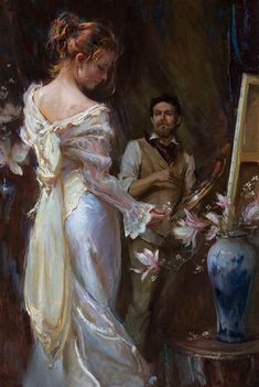 """Based off Daniel Gerhartz's """"To Capture Beauty"""" Old Paintings, Classic Paintings, Beautiful Paintings, Romantic Paintings, Classic Artwork, Aesthetic Painting, Aesthetic Art, Rennaissance Art, Photographie Portrait Inspiration"""