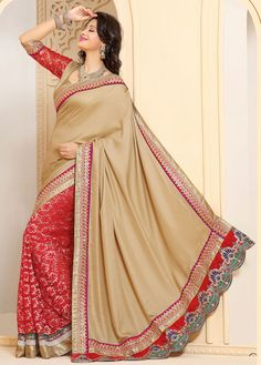 Contemporary Beige Brown and Red Jacquard with Net with Satin Half And Half Saree - IG331357USD $ 72.76