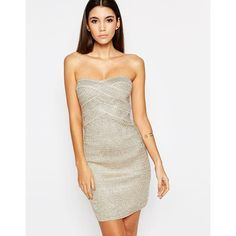 WOW Couture Bandeau Bandage Dress In Metallic ($85) ❤ liked on Polyvore featuring dresses, metallic, tall dresses, bodycon cocktail dress, bodycon bandage dress, white body con dress and white dress