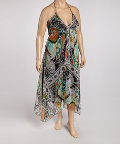 Red & Green Abstract Maxi Dress - Plus by Life and Style Fashions #zulily #zulilyfinds