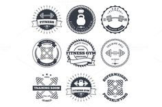 Bodybuilding and fitness gym logos by idimair on Creative Market