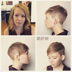 Before and after!! Convertible disconnected pixie, undercut all the way around. Convertibles give versatility! Feel free to part your hair on either side, wear it forward, or pomp it back! #menscuts...