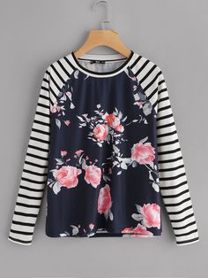 To find out about the Striped Raglan Sleeve Floral Tee at SHEIN, part of our latest T-Shirts ready to shop online today! Trendy Fall Outfits, Winter Outfits, Look Fashion, Fashion Outfits, Plus Size Shirts, Floral Stripe, Cool Shirts, Long Sleeve Tees, My Style